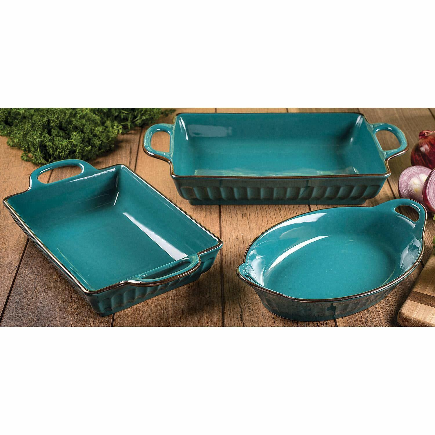 Member/'s Mark 3-Piece Fluted Bakeware Set3 Color Choices RedCreamTeal