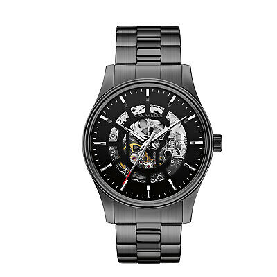 Caravelle New York Mens 45A121 Automatic Skeleton Dial Black Dial 42Mm Watch