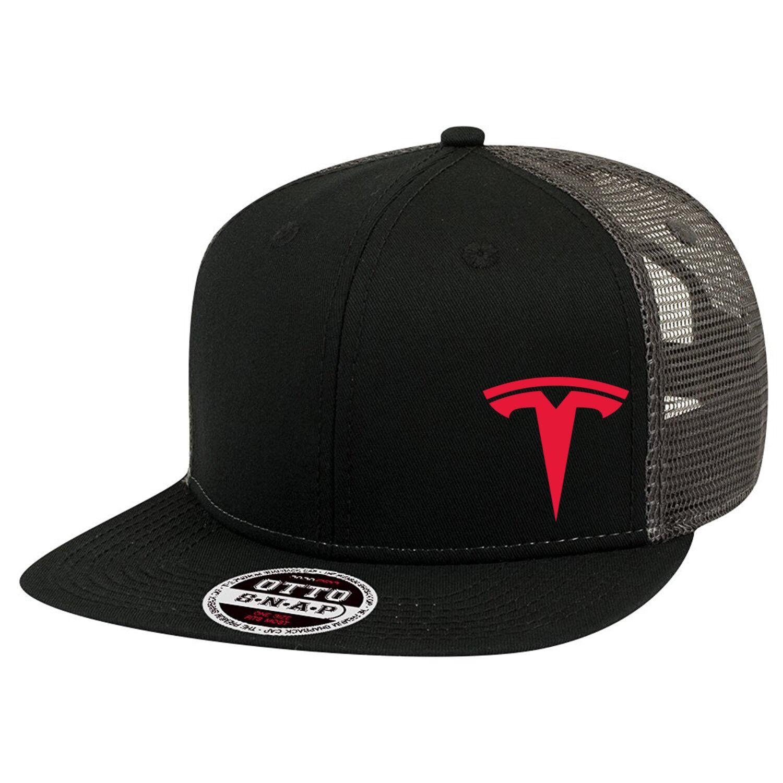 TESLA Car Logo Trucker Hat Mesh Flat bill Baseball Snapback