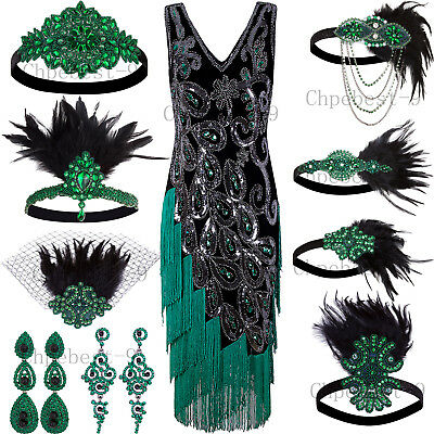 1920s Flapper Style Dress (Green Peacock Style 1920s Flapper Dresses Vintage Fringe Party Cocktail)