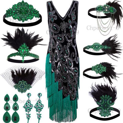 Green Peacock Style 1920s Flapper Dresses Vintage Fringe Par