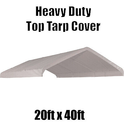 20' x 40'  feet Carport Roof Top Canopy Cover Tarp Replacement Outdoor White for sale  Shipping to South Africa