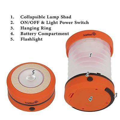 Orange Lanterns (Ivation Orange LED Camping Lantern Collapsible & Rainproof, Flashlight torch)