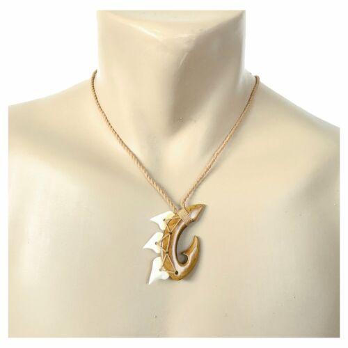 Hawaiian Jewelry Hand Carved Hawaii Koa Wood Shark Tooth Fish Hook Necklace