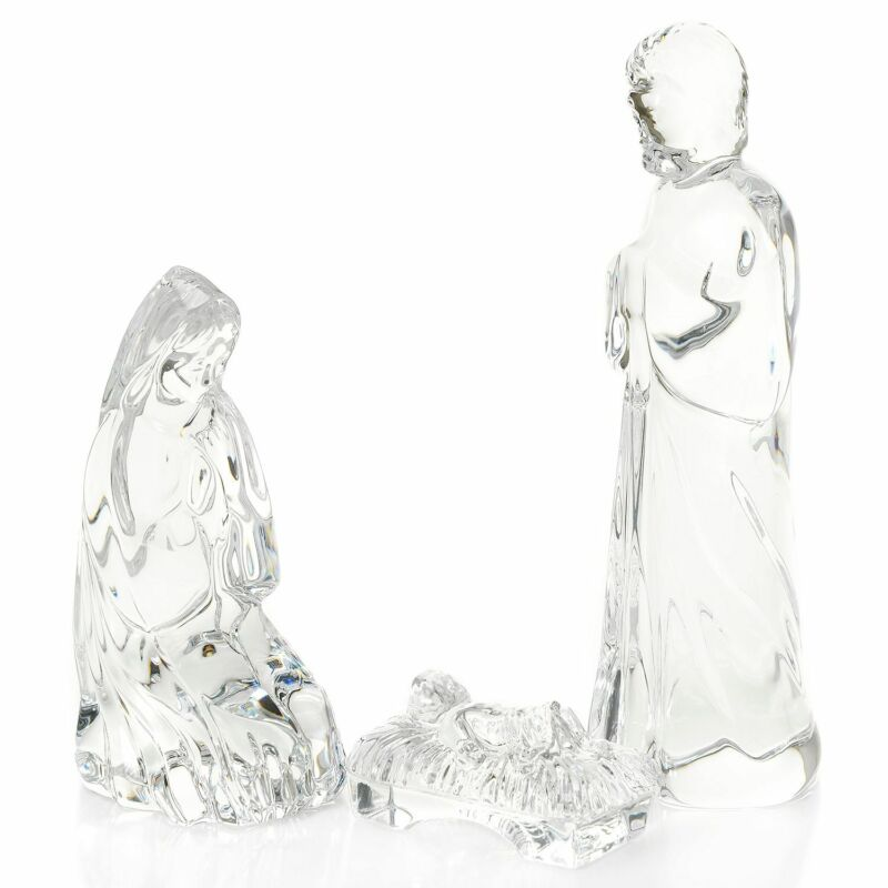 """Waterford Crystal """"Holy Family Nativity"""" Set of Three Figurines"""