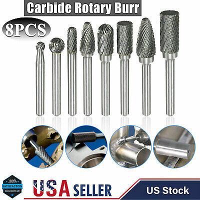 8pcs 14 Shank Double Cut Carbide Rotary Burr Set Tungsten Die Grinder Bit Tool