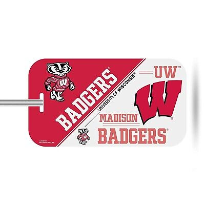 Wisconsin Badgers Plastic Luggage Tag Bag Identification University (Wisconsin Badgers Bag Tag)