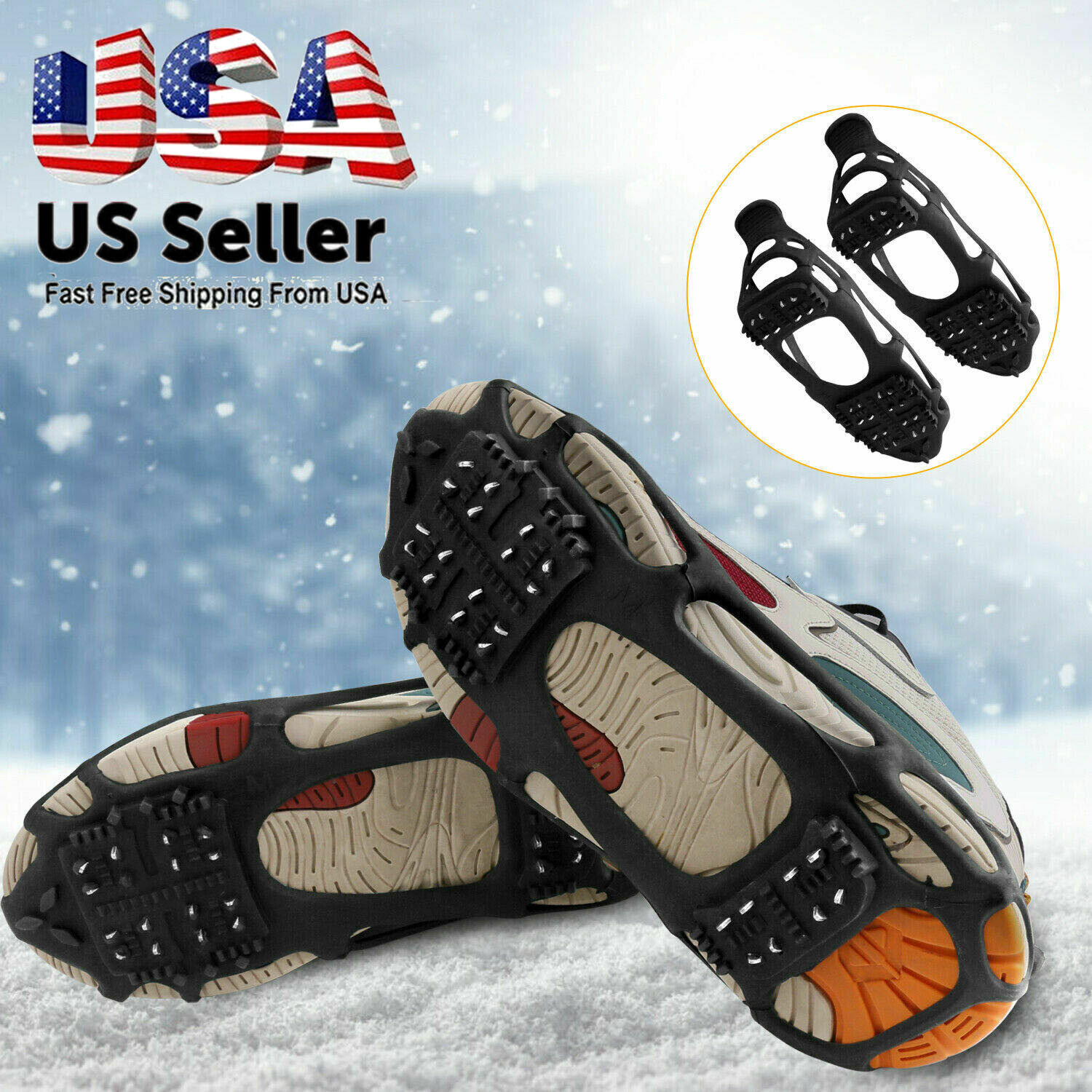 Gather together Anti-Slip Skiing Shoes Cover Climbing Spikes Grips 5 Teeth Crampon Shoes Cleats for Skating Snowy Road