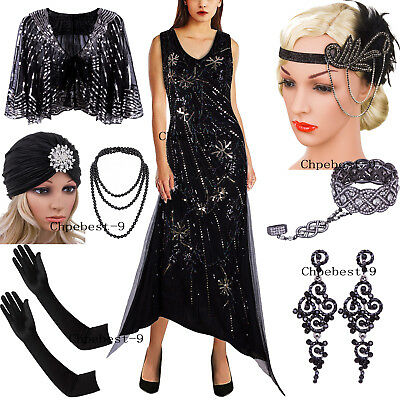 Vintage 1920s V Neck Flapper Dress Sequins Beaded Irregular Long Evening Dresses - Flappers 1920s
