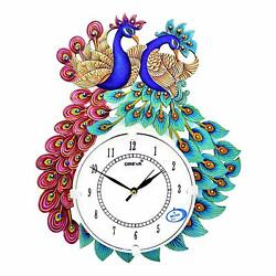 Large Wooden Wall Clock Peacock Design Beautiful Analog Clock Home Décor 16 Inch
