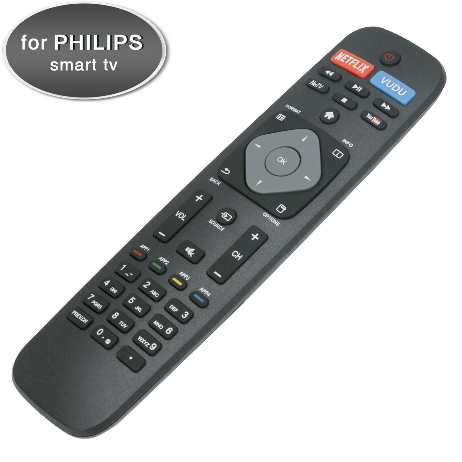 New Smart TV Remote Control for Philips with Netflix Vudu Yo