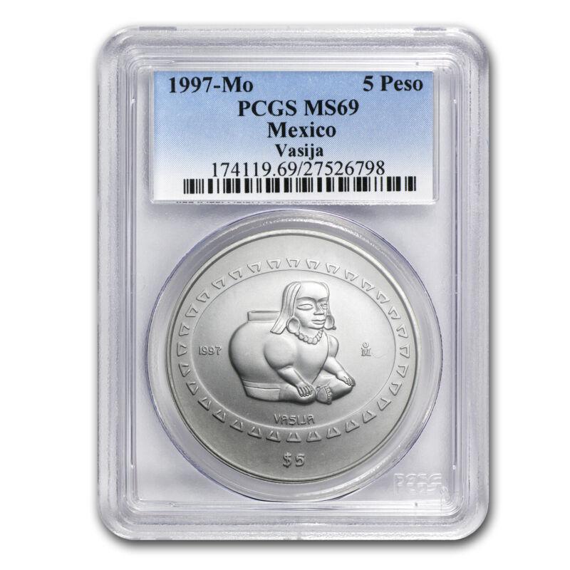 1997 Mexico 1 oz Silver 5 Pesos Vasija MS-69 PCGS - SKU #76555