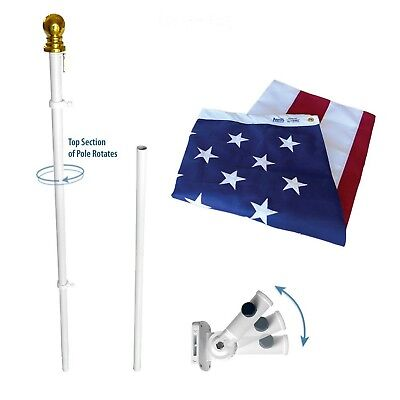 Annin Spinning Flagpole - American Flag and Flagpole Set - 6 ft. 2 Section White Spinning Pole that Rot...