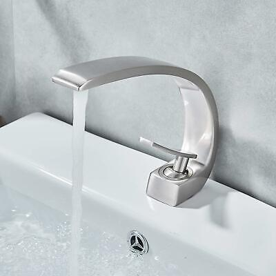 Brushed Nickel Waterfall Single Handle Bathroom Faucet Sink Basin Mixer Tap