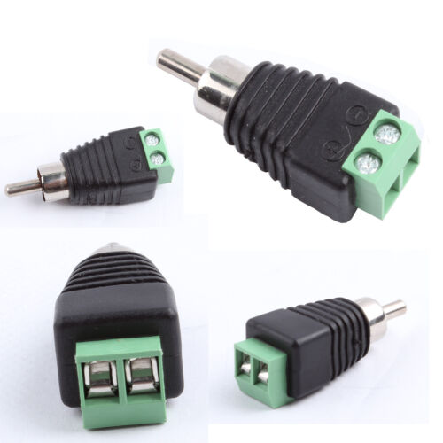 10pcs Phono Speaker Wire Cable To Audio Male Rca Connector