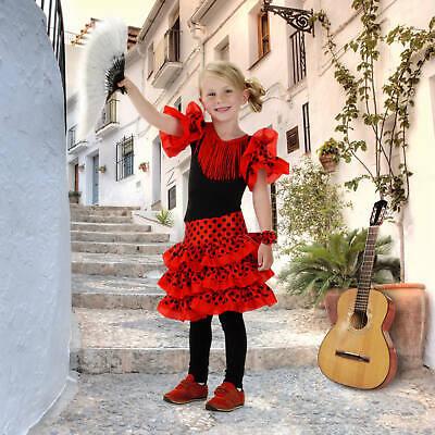 Kinder Kostüm Spanische Tänzerin Mädchenkostüm  Gr 104 110 116 122 128 134 - Spanische Mädchen Kostüm