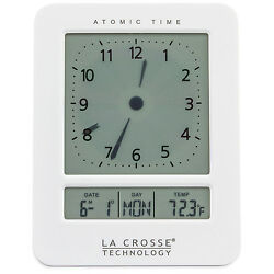 617-1392W La Crosse Technology Atomic Digital Analog-Style Dual Alarm Clock NIB