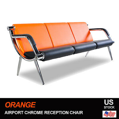 Leather Office Guest Chair - Office Airport Waiting Chair Bench 3-Seat Reception PU Leather Guest Sofa Seat