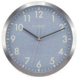 404-2625S La Crosse Clock Company 10 Metal Frame Analog Wall Clock - Silver