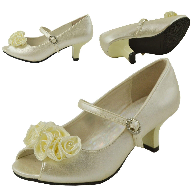 Girls Wedge Pumps w// Rhinestone Flower Accent White Size 9-4