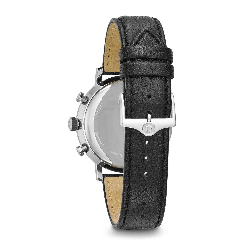 Bulova Classic Men's 96B262 Quartz Chronograph Black Leather Strap 41mm Watch