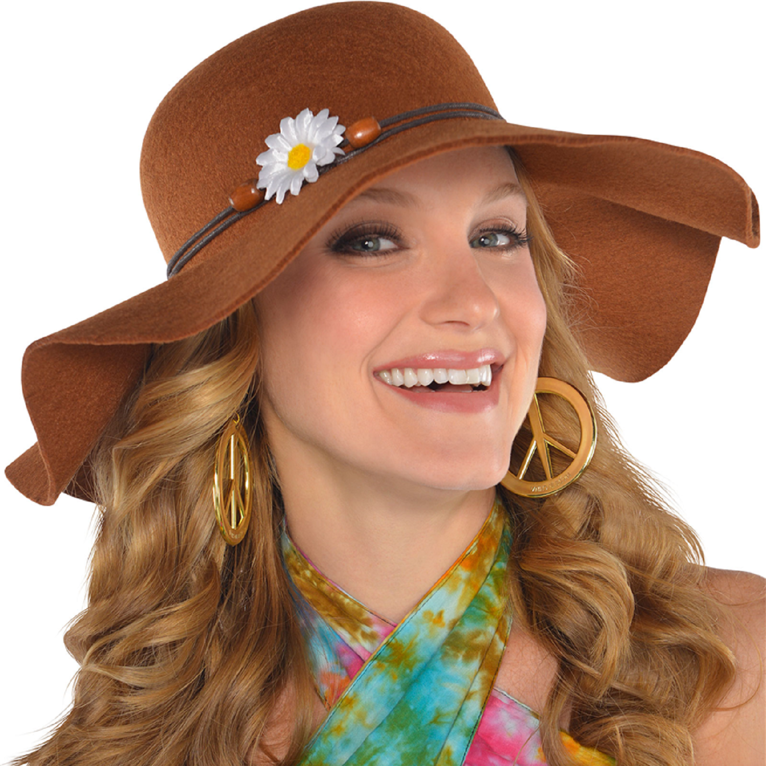3cc709fa0f26c3 Ladies Large Brown Floppy Wide Brimmed Fancy Dress Hat Hippy Hippie 60s  Festival
