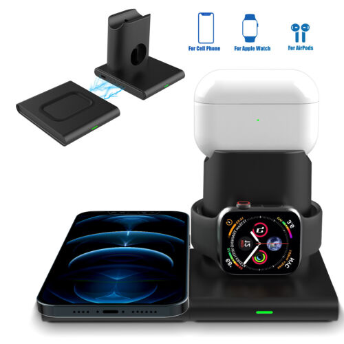 3in1 Qi Wireless Charger Dock Stand Charging Station For iPhone12/12 Pro/iWatch