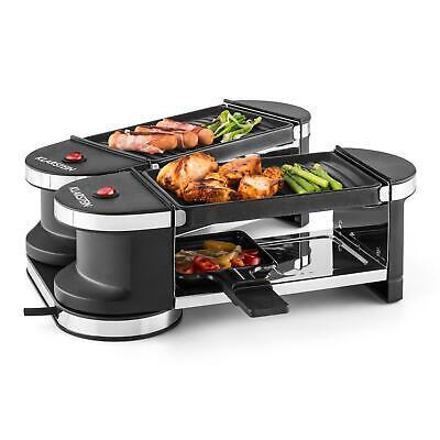 Raclette Eléctrica 600W 4 Sartenes Parrilla Multifunción 2 Zonas Grill Gratinar
