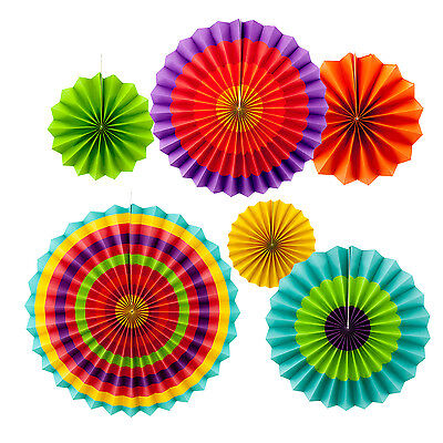6pc Fiesta Paper Fan Decoration Green Orange Red 5 de Mayo Southwestern - 5 De Mayo Decorations