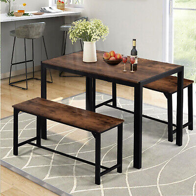 Industrial Dining Table Set w/2 Wooden Chairs Bench Seat Kitchen Home Furniture