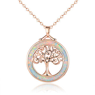 Sevil 18K Rose Gold Plated Created Opal Tree of Life Pendant Necklace Gold Plated Opal Necklace