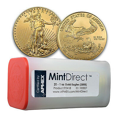 Click now to see the BUY IT NOW Price! 2008 1 OZ GOLD AMERICAN EAGLE 20 COIN MINTDIRECT TUBE   SKU 92418