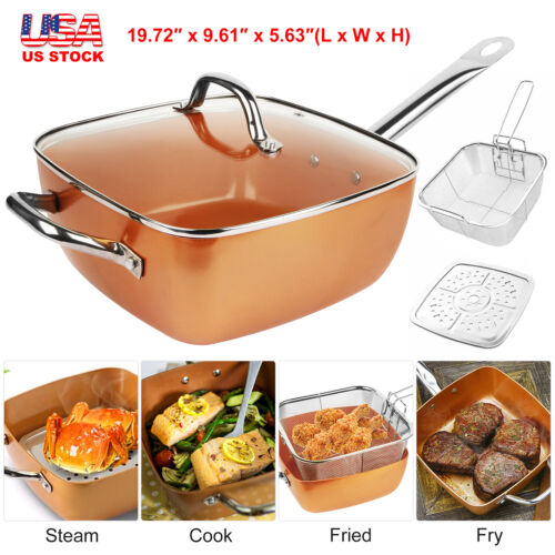 Deep Square Copper Non-Stick Induction Bottom Frying Pan 3pc