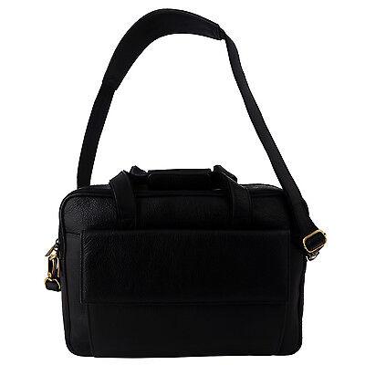 Men's Genuine Leather Laptop Bag Black 16 inch Briefcase Satchel