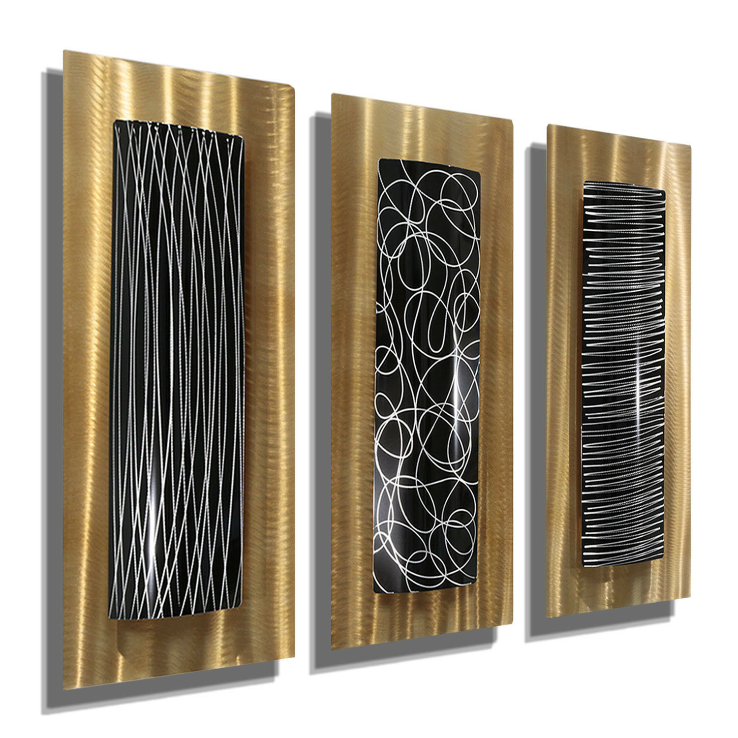 Set of three abstract gold black modern contemporary metal wall art accents