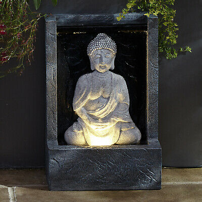 Large LED Buddha Fountain Garden Light Plug In Ornament Water Feature Lights4fun