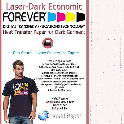 Forever Laser-dark Economy Heat Transfer Paper Laser Printer 8.5x11 10 Sheet