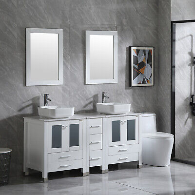60'' Double Vanity Cabinet Bathroom White Clear Ceramic Sink Faucet Drain Mirror 60 Double Sink