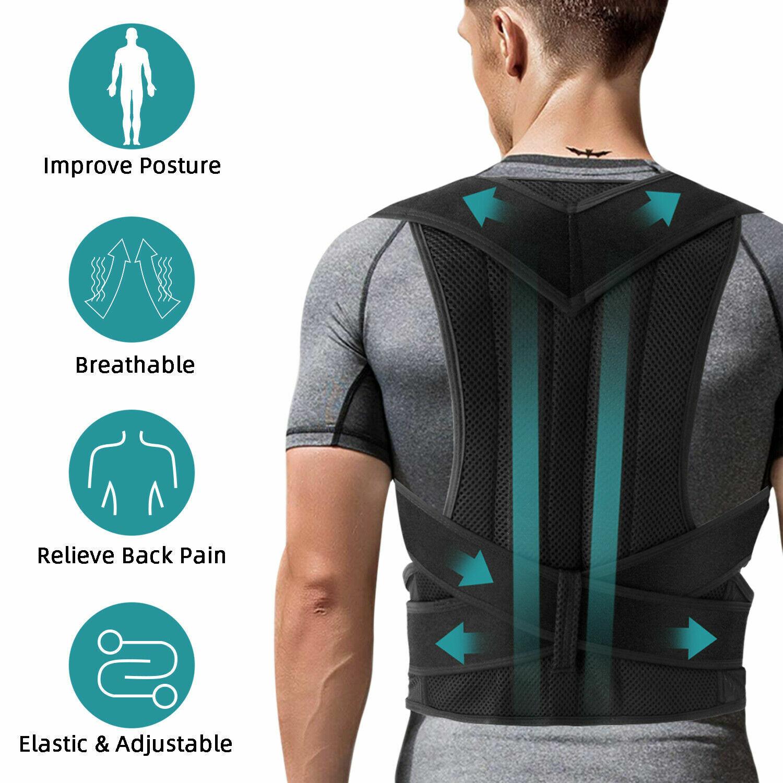 Posture Corrector For Men Women Adjustable Back Support Low Shoulder Brace Belt Clothing & Accessories