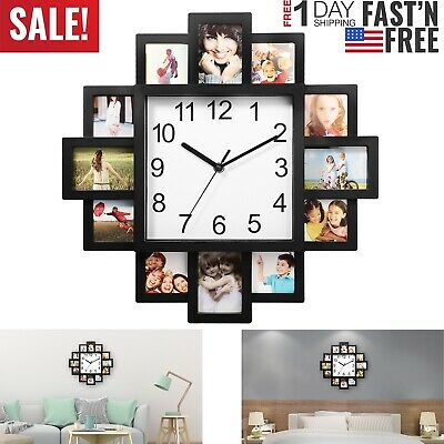 12 Frame Photo Wall Clock Modern Style Living Room Home Decor Art Design