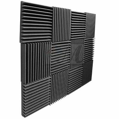 """6 Pack Acoustic Panels Studio Foam Wedges 2"""" X 12"""" X 12"""", Charcoal Made in USA"""
