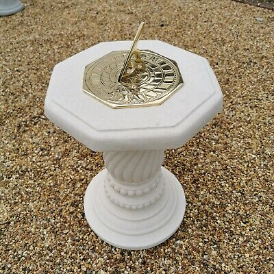 Concrete Round Swirl Tall Plinth Cream Octagonal Top Time Flies Sundial