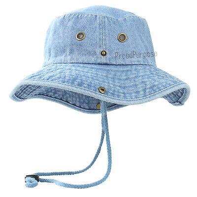 New Mens Boonie Bucket Wild Brim Hat 100% Cotton Denim Blue Military Safari Cap - Blue Safari