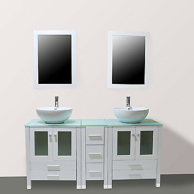 60  Double Bathroom Ceramic Sink Solid Vanity Cabinet W  Mirror   Faucet White