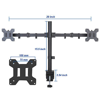 Double Arm Desk Mount - New Full Motion Dual VESA Monitor Desk Mount Double Arm Joint Screens up to 27