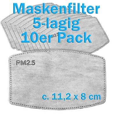 Maskenfilter Mundschutz Atemschutz Filter PM 2.5 Aktivkohlefilter 5-lagig 10 St.