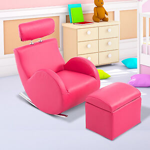 qaba faux leather kids sofa set children rocking armchair
