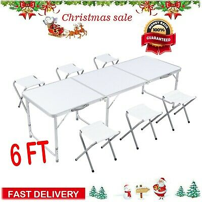 6 Ft Folding Table 6 Chairs Aluminium Alloy Indoor Outdoor Picnic Party Camping