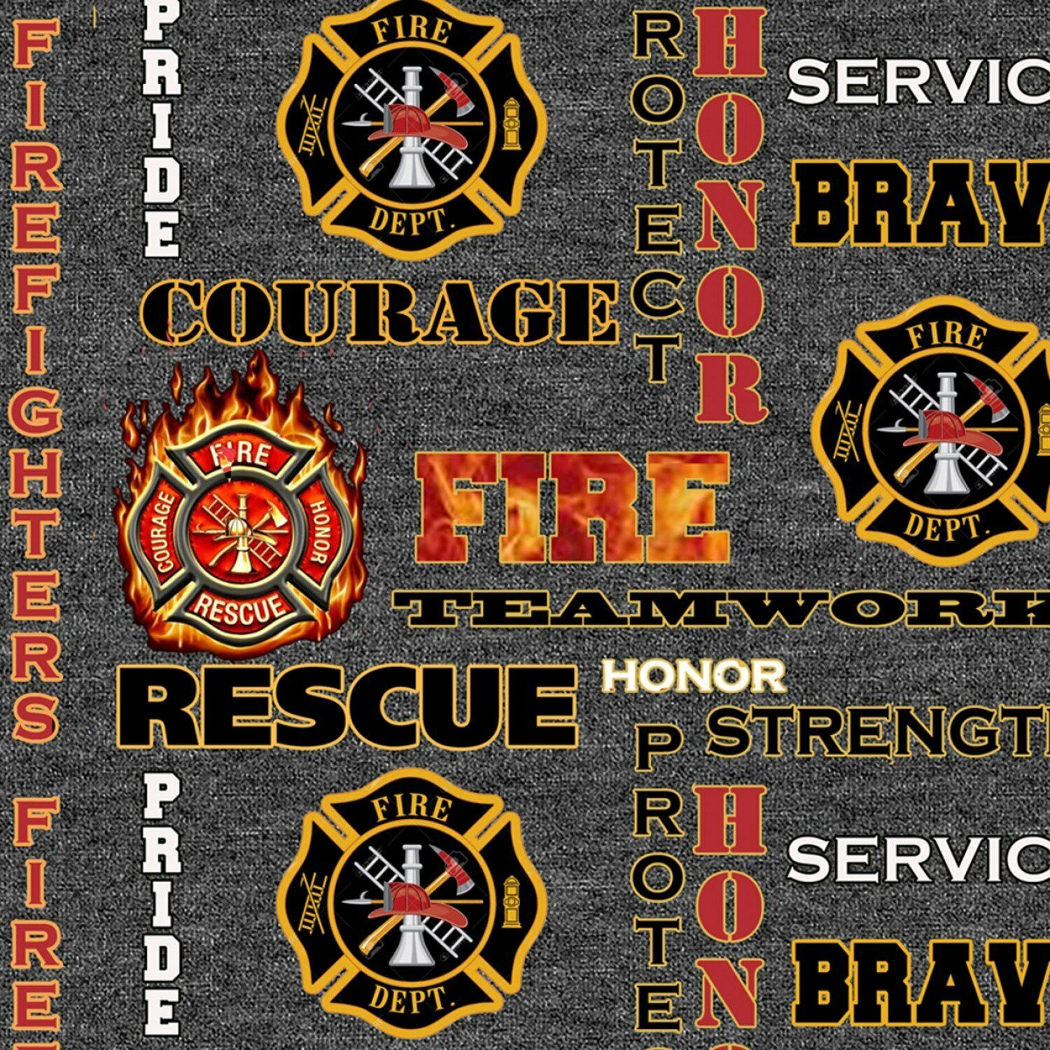 Fire Fighter Bravery Courage Pride Serve Sykel Heather Print