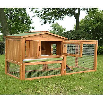 Pawhut Wooden Small Animal House Rabbit Hutch Bunny Cage w/ Backyard Run Ramp